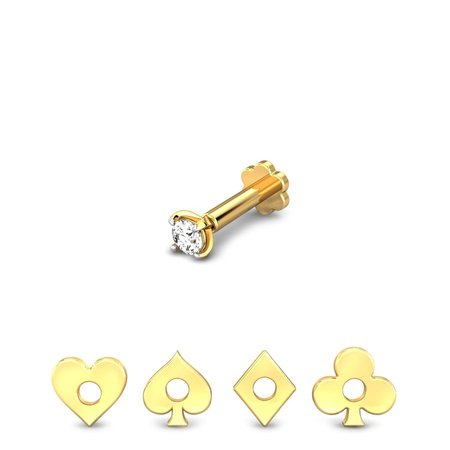 Diamond Nose Pins Yellow Gold 18kt - Poker 4 In 1 Changeable Diamond Nose Pins - Candere By Kalyan Jewellers