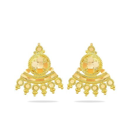 Gold Earrings Yellow Gold 22kt - Nudara Gold Earrings - Candere By Kalyan Jewellers