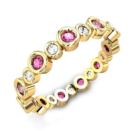 Diamond Rings Yellow Gold 18kt - Pink Spinel Ring - Candere By Kalyan Jewellers