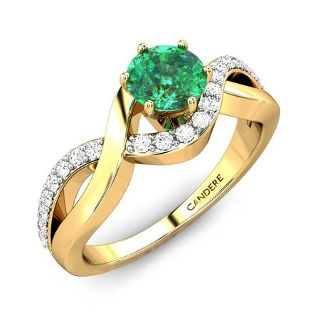 Diamond Rings Yellow Gold 18kt - Arleen Green Onyx Ring - Candere By Kalyan Jewellers