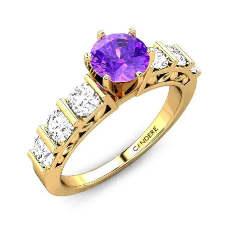 Diamond Rings Yellow Gold 18kt - Aroha Amethyst Ring - Candere By Kalyan Jewellers