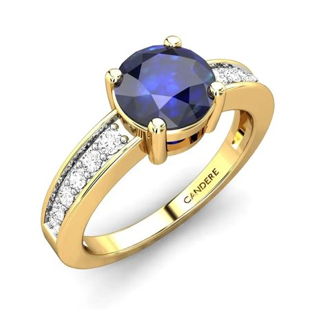 Diamond Rings Yellow Gold 18kt - Elleen Blue Sapphire Ring - Candere By Kalyan Jewellers