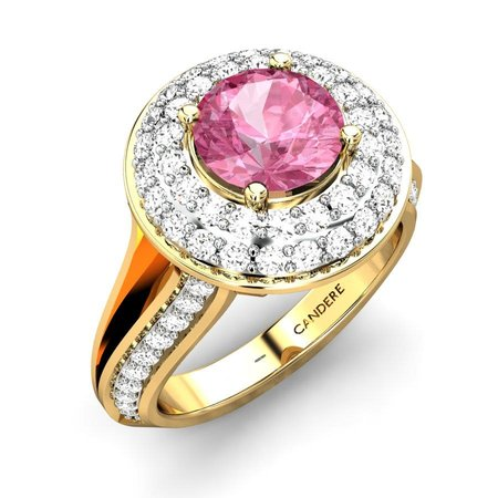Diamond Rings Yellow Gold 18kt - Gracie Tourmaline Pink Ring - Candere By Kalyan Jewellers