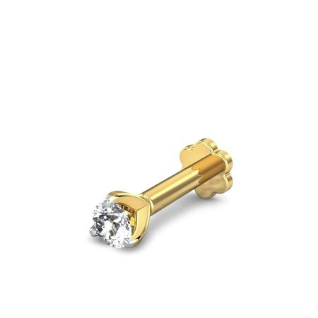 Diamond Nose Pins Yellow Gold 18kt - 0.07ct Lucille Diamond Nose Pin - Candere By Kalyan Jewellers