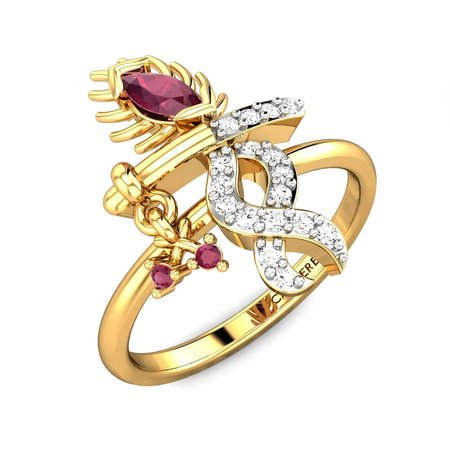 Diamond Rings Yellow Gold 18kt - Flute Ruby Ring - Candere By Kalyan Jewellers