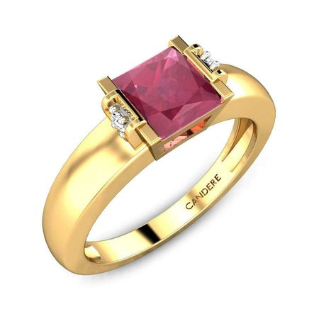 Diamond Rings Yellow Gold 18kt - Asvika Ruby Ring - Candere By Kalyan Jewellers