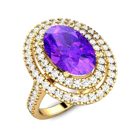Diamond Rings Yellow Gold 18kt - Geet Amethyst Ring - Candere By Kalyan Jewellers
