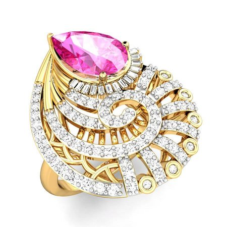 Diamond Rings Yellow Gold 18kt - Halle Pink Spinel Ring - Candere By Kalyan Jewellers