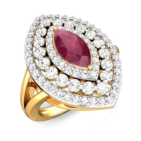 Diamond Rings Yellow Gold 18kt - Joycelyn Ruby Ring - Candere By Kalyan Jewellers