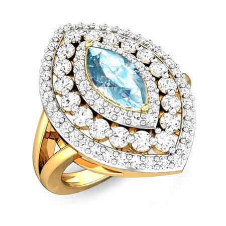 Diamond Rings Yellow Gold 18kt - Joycelyn Aquamarine Ring - Candere By Kalyan Jewellers