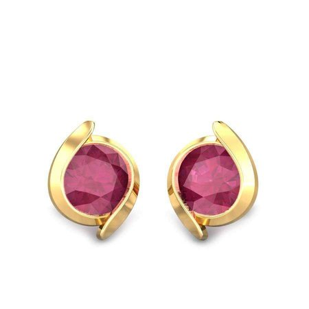 Gemstone Earrings Yellow Gold 18kt - Josephine Red Spinel Earrings - Candere By Kalyan Jewellers