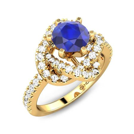 Diamond Rings Yellow Gold 18kt - Annora Iolite Ring - Candere By Kalyan Jewellers