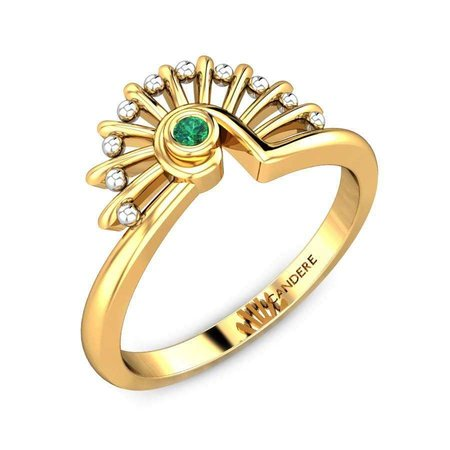 Gemstone Rings Yellow Gold 18kt - Alana Green Onyx Ring - Candere By Kalyan Jewellers