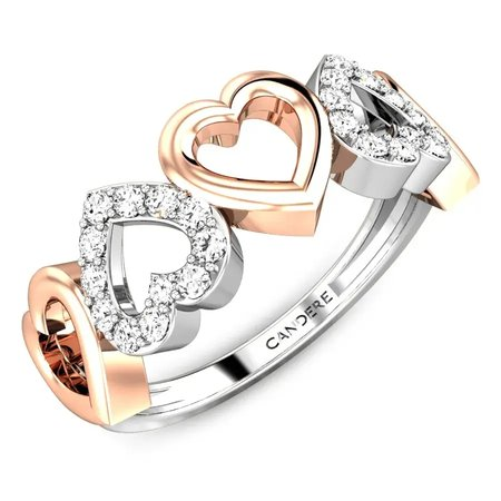 Diamond Rings Rose Gold 18kt - Affairs Hearts Diamond Ring - Candere By Kalyan Jewellers