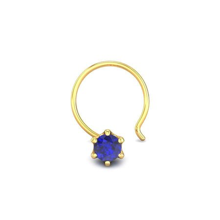 Gemstone Nose Pins Yellow Gold 18kt - Sunshine Iolite Nose Pin - Candere By Kalyan Jewellers