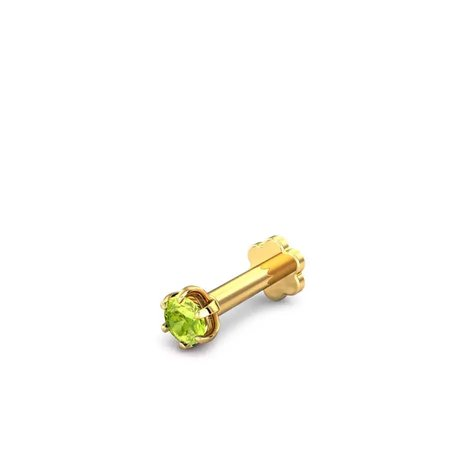 Gemstone Nose Pins Yellow Gold 18kt - 0.07ct Asin Peridot Nose Pin - Candere By Kalyan Jewellers
