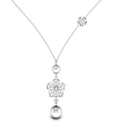 Diamond Necklaces White Gold 18kt - Fantasia Diamond Necklace - Candere By Kalyan Jewellers