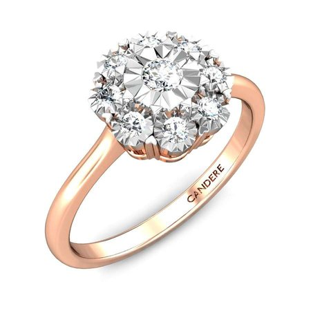 Diamond Rings Rose Gold 14kt - Snowflake Flower Miracle Plate Diamond Ring - Candere By Kalyan Jewellers
