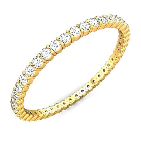 Diamond Bands Yellow Gold 14kt - Slimmest Full Eternity Diamond Ring - Candere By Kalyan Jewellers