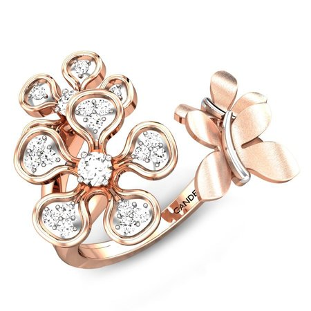 Diamond Rings Rose Gold 14kt - Blossoms Butterfly Diamond Gap Ring - Candere By Kalyan Jewellers