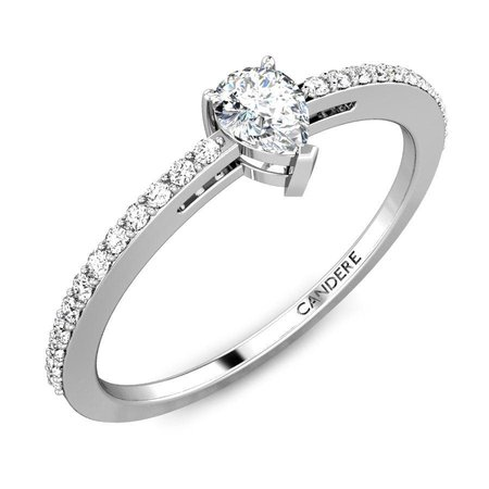 Solitaire  Diamond Rings White Gold 18kt - Pear Solitaire Diamond Engagement Ring - Candere By Kalyan Jewellers