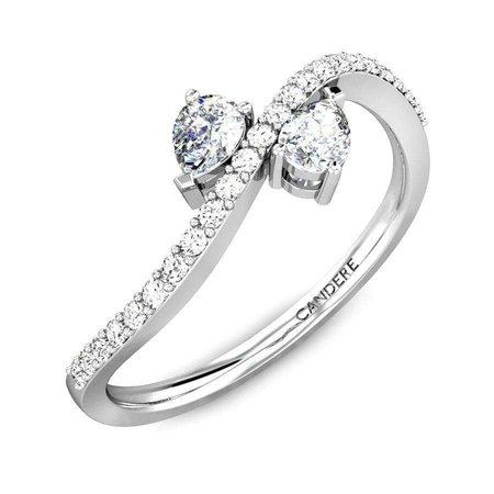 Diamond Rings White Gold 18kt - Love Links Duet Pear Diamond Ring - Candere By Kalyan Jewellers