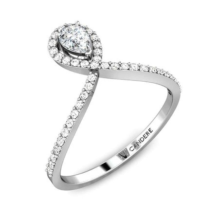 Diamond Rings White Gold 18kt - Inverted Pear Diamond Ring - Candere By Kalyan Jewellers