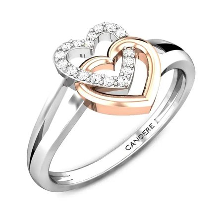 Diamond Rings White Gold 18kt - Perfect Duet V.day Diamond Ring - Candere By Kalyan Jewellers