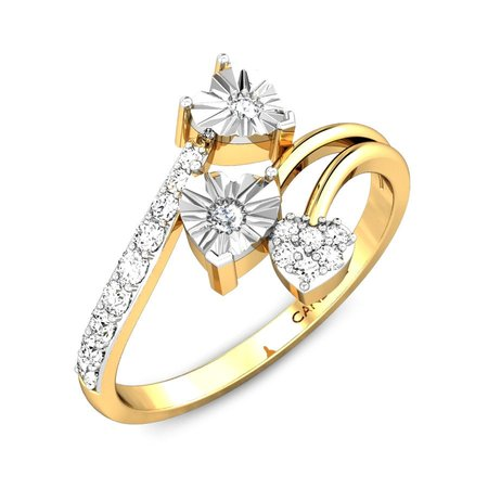 Diamond Rings Yellow Gold 18kt - Tipsy Hearts Miracle Plate Diamond Ring - Candere By Kalyan Jewellers