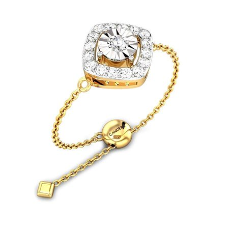 Diamond Rings Yellow Gold 18kt - Just The One Miracle Diamond Flexi Ring - Candere By Kalyan Jewellers