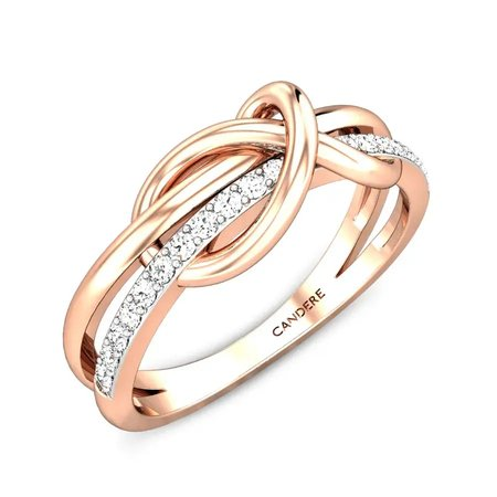 Diamond Rings Rose Gold 18kt - Kismet Love Knot Diamond Ring - Candere By Kalyan Jewellers
