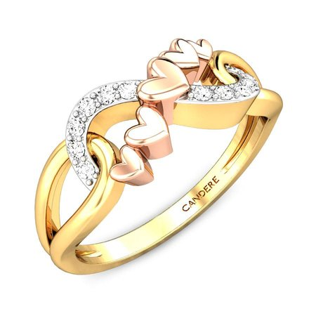 Diamond Rings Yellow Gold 18kt - Sash Love Knot Diamond Ring - Candere By Kalyan Jewellers