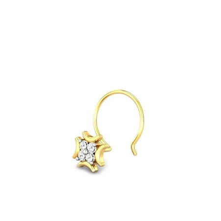 Diamond Nose Pins Yellow Gold 18kt - Nysa Diamond Nose Pin - Candere By Kalyan Jewellers