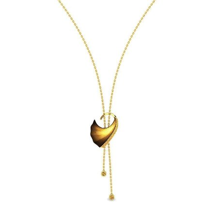 Gold And Swarovski Zirconia Necklaces Yellow Gold 14kt - Saga Islet Swarovski® Zirconia Gold Necklace - Candere By Kalyan Jewellers