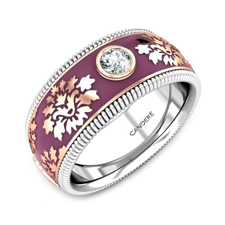 Gold, Silver And Diamond Bands Rose Gold 14kt - Encantar Revolving Diamond Band - Candere By Kalyan Jewellers
