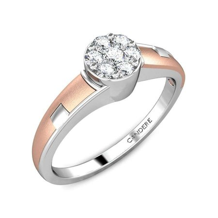 Gold, Silver And Diamond Rings Rose Gold 18kt - Flirty Love Gold Silver Diamond Ring - Candere By Kalyan Jewellers