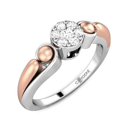Gold, Silver And Diamond Rings Rose Gold 18kt - Blushin Love Gold Silver Diamond Ring - Candere By Kalyan Jewellers