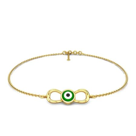 Gemstone Anklet Yellow Gold 14kt - Hayi Evil Eye Anklet - Candere By Kalyan Jewellers