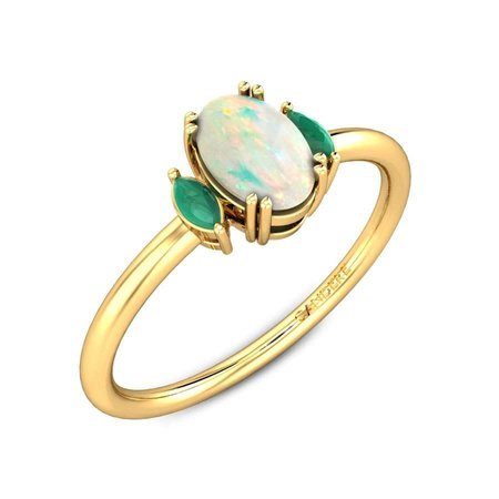 Gemstone Rings Yellow Gold 14kt - Shanvi Gemstone Ring - Candere By Kalyan Jewellers