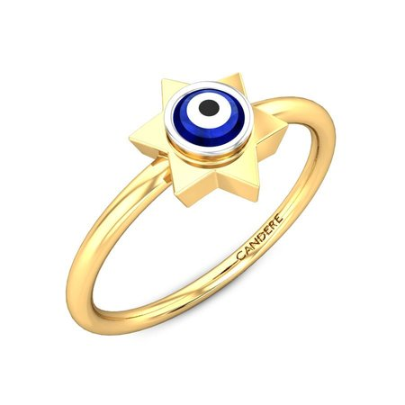 Gemstone Rings Yellow Gold 14kt - Kat Evil Eye Ring - Candere By Kalyan Jewellers
