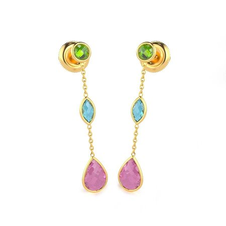 Gold And Cz Earrings Yellow Gold 14kt - Merlot Tnt Cubic Zirconia Gold Earrings - Candere By Kalyan Jewellers