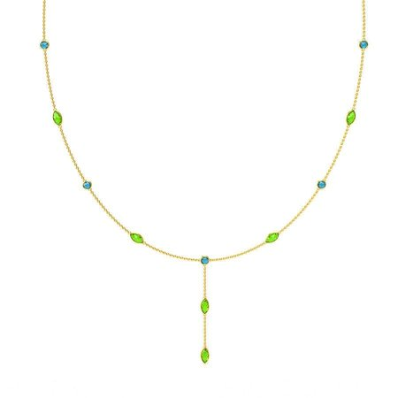 Gold And Cz Necklaces Yellow Gold 14kt - Chartreuse Tnt Cubic Zirconia Gold Necklace - Candere By Kalyan Jewellers
