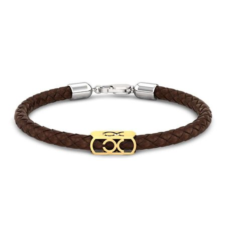 Gold And Silver Bracelets Yellow Gold 14kt - Zodiac Gold Leather Bracelet For Men - Candere By Kalyan Jewellers
