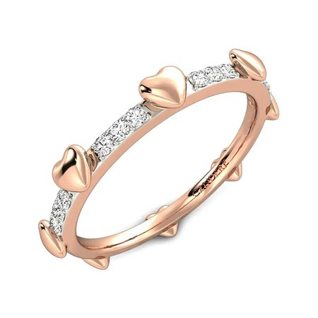 Diamond Rings Rose Gold 14kt - Revolving Hearts Eternity Diamond Band - Candere By Kalyan Jewellers