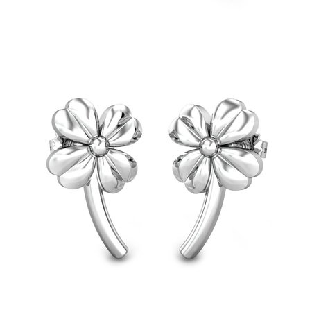 Platinum Earrings Platinum 950 - Four Clover Leaf Platinum Earrings - Candere By Kalyan Jewellers
