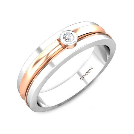 Diamond Bands Platinum 950 - Elon Platinum And Rose Gold Diamond Band For Him - Candere By Kalyan Jewellers