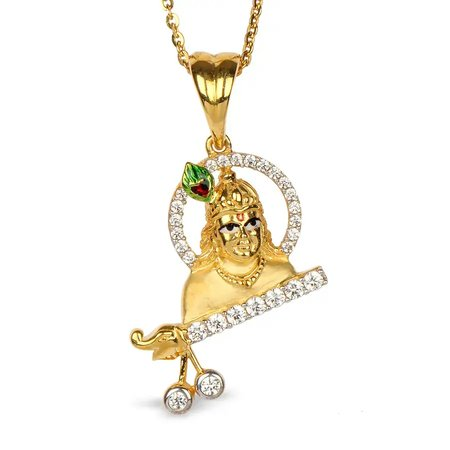 Gold And Cz Pendants Yellow Gold 14kt - Yogeshwar Gold Pendant - Candere By Kalyan Jewellers