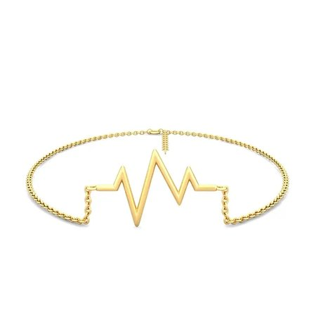 Gold Anklet Yellow Gold 14kt - Beating Heart Gold Anklet - Candere By Kalyan Jewellers