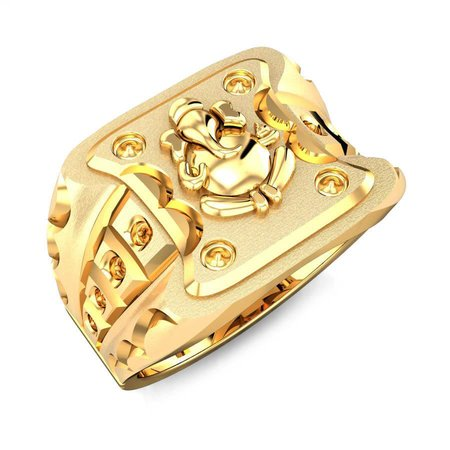 Gold Rings Yellow Gold 22kt - Gajanan Gold Ring - Candere By Kalyan Jewellers