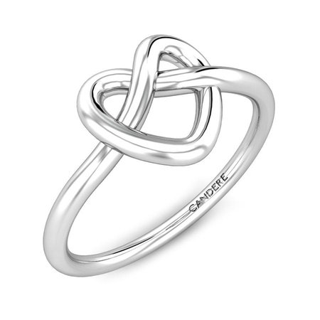 Gold Rings White Gold 18kt - Weslee Heart Love Knot Gold Ring - Candere By Kalyan Jewellers